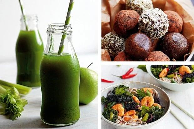 Alimentos de la dieta Sirtfood, jugo verde, ensalada de camarones y trufas de chocolate amargo