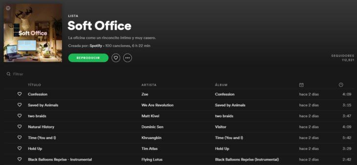 Lista de reproducción en Spotify llamada Soft office