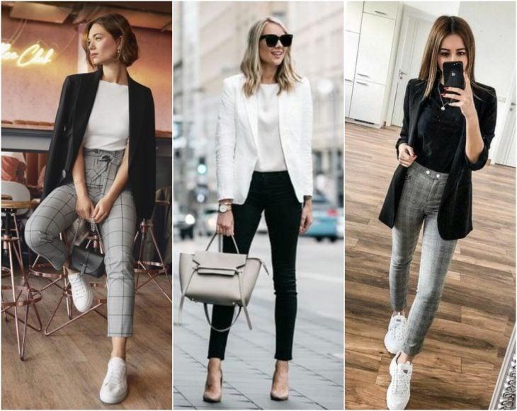 Chica llevando outfits con blazer en tonos básicos