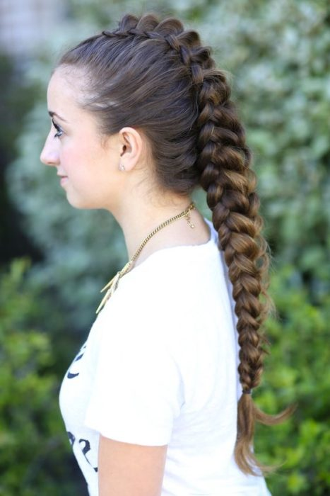 Chica castaña con trenza dragón
