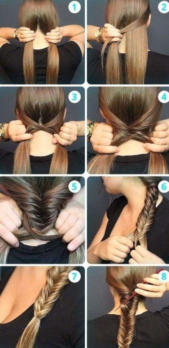 Chica haciendo un tutorial de cómo hacer un peinado sencillo