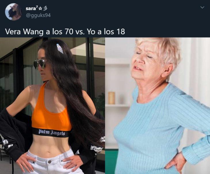 Vera Wang presume abdomen de acero