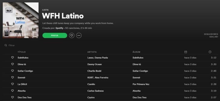 Lista de reproducción en Spotify llamada WFH Latino