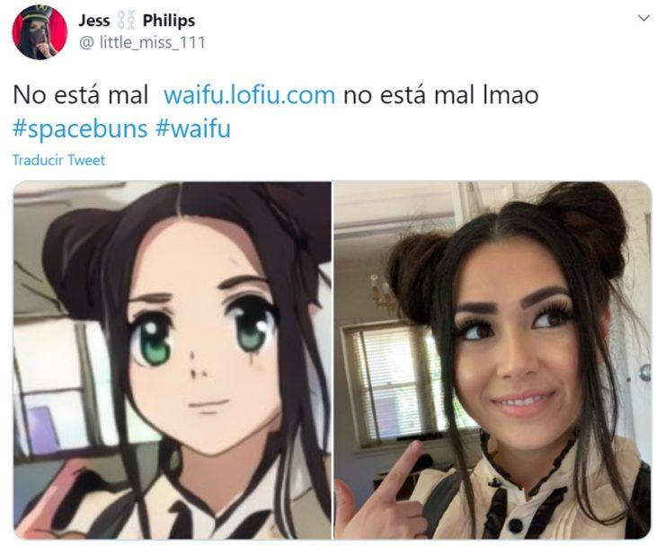 Captura de twitter con selfie y creación de waifu
