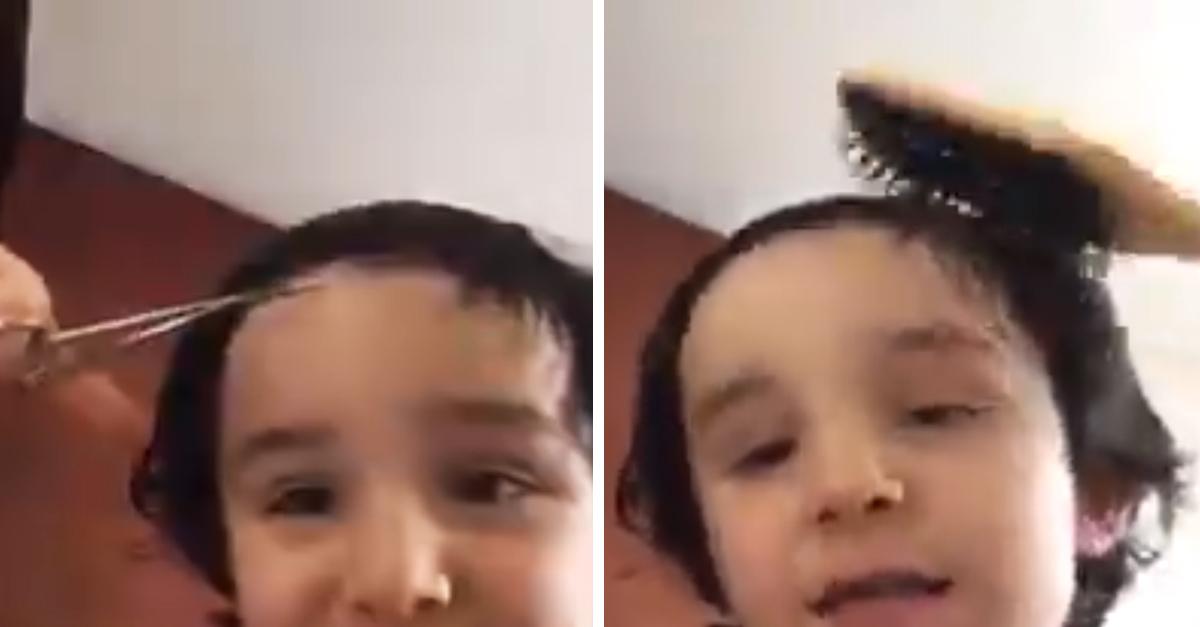 Este niño se quitó el miedo y él mismo se cortó el cabello
