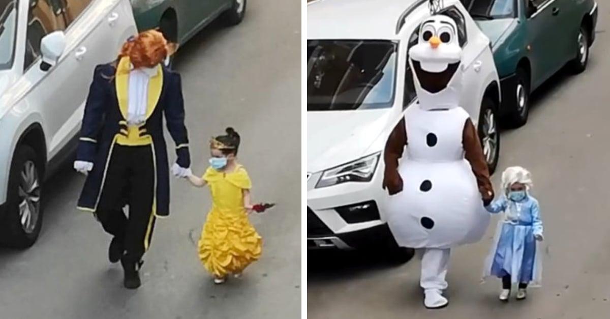 Papá e hija se disfrazan de divertidos personajes para salir a dejar la basura