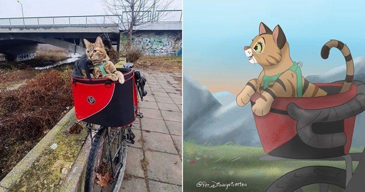 Dibujo 'Disneyficado' de un gatito en la canasta de una bicicleta