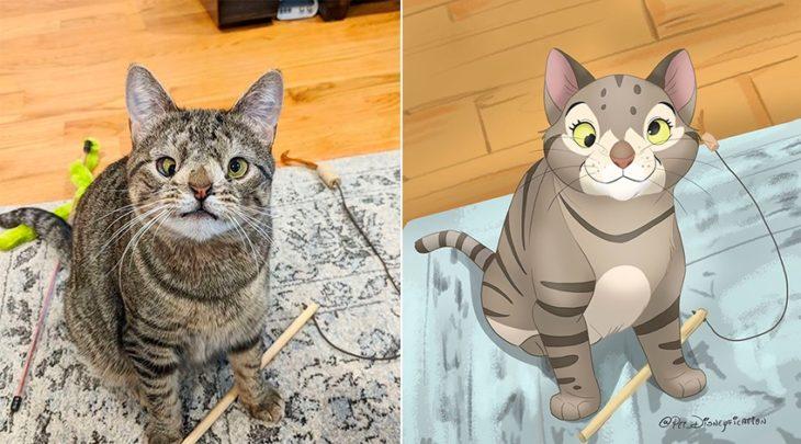 Dibujo 'Disneyficado' de Maya la gatita con síndrome de Down