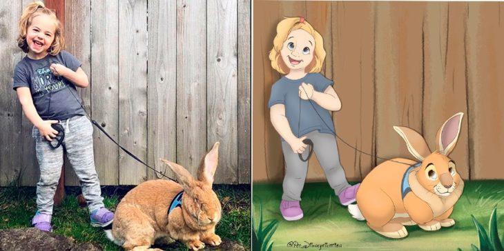 Dibujo 'Disneyficado' de una niña y su conejo