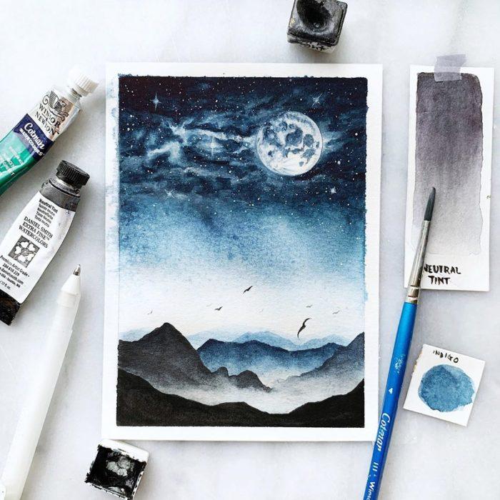 Foto para instagram de una pintura a acuarela