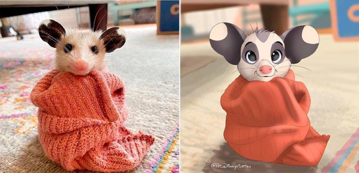 Dibujo 'Disneyficado' de un ratoncito orejón