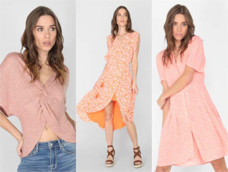 Chicas con ropa en tonos rosas