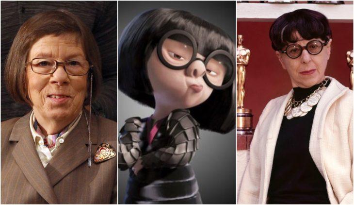 Edna Mona de la película de Disney Los increíbles Inspirada en la diseñadora Linda Hunt y la actriz Edith Head