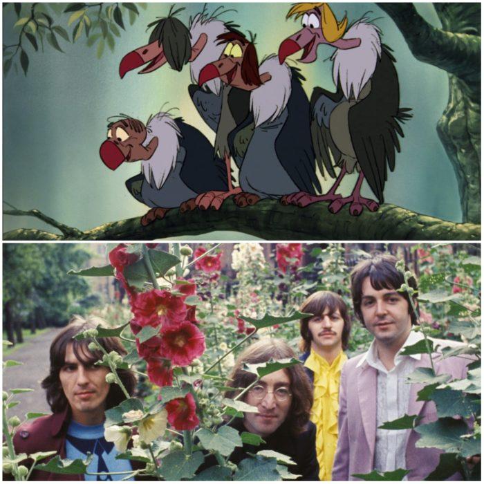 Los cuatro buitres de El slibro de la selva, película Disney, Inspirados en el cuarteto de Livepool, The Beatles