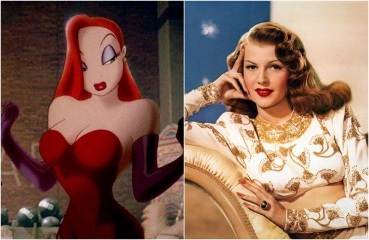 Jessica Rabbit de la película animada ¿Quién mató a Roger Rabitt?,nspirada en la actriz Rita Hayworth