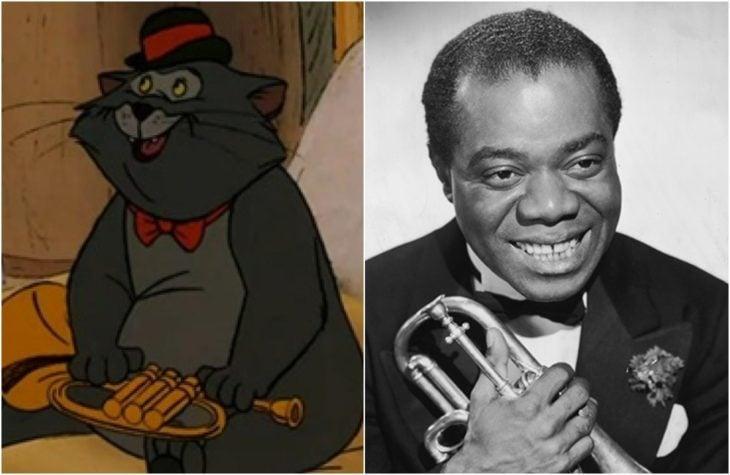 El Gato Jazz, de la película Los aristogatos, Inspirado en el músicoLouis Armstrong