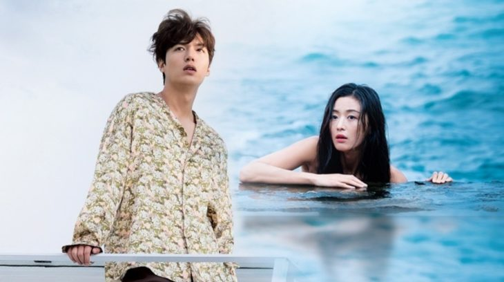 Lee Min-ho y Jun Ji Hyun a la orilla del mar en una escena de la serie con sirena la leyenda del mar azul