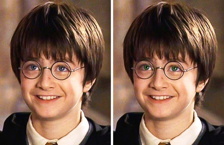 Harry Potter con los ojos verdes y azules