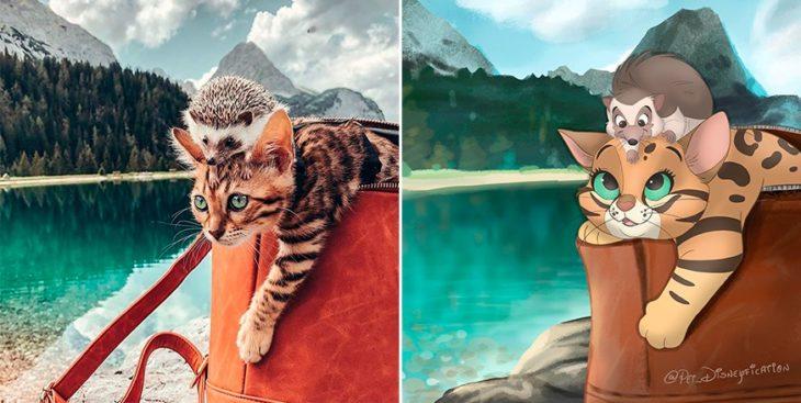 Dibujo 'Disneyficado' de un gato y un erizo sobre una bolsa de mano