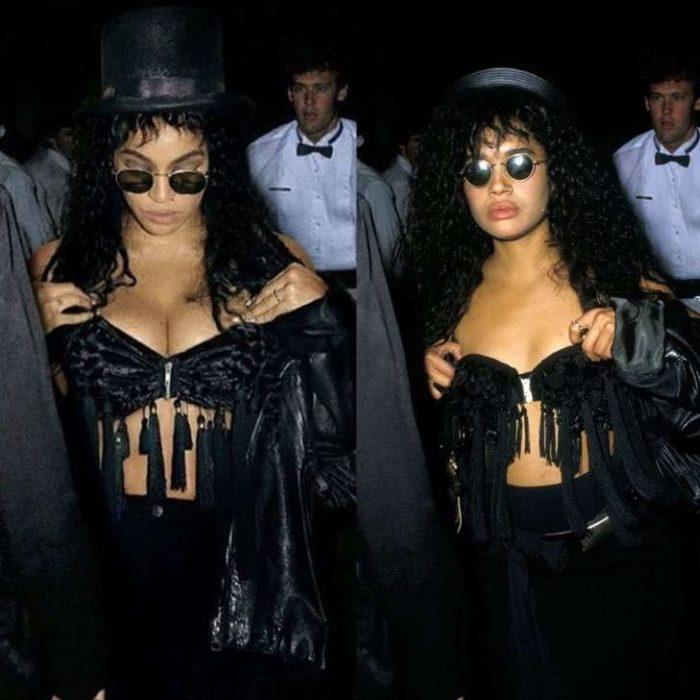 Beyoncé disfrazada como Lisa Bonet con crop top negro y flecos, con sombrero de copa negro y gafas oscuras