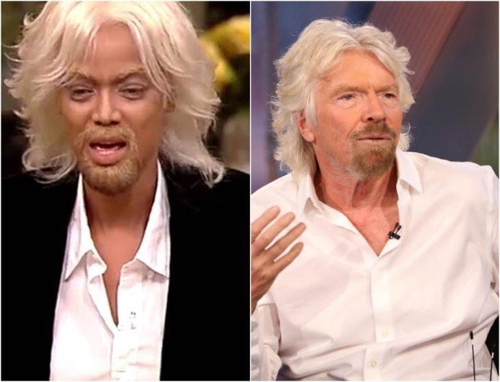 Tyra Banks disfrazada como Richard Branson con cabello largo blanco, camisa de cuello blanca