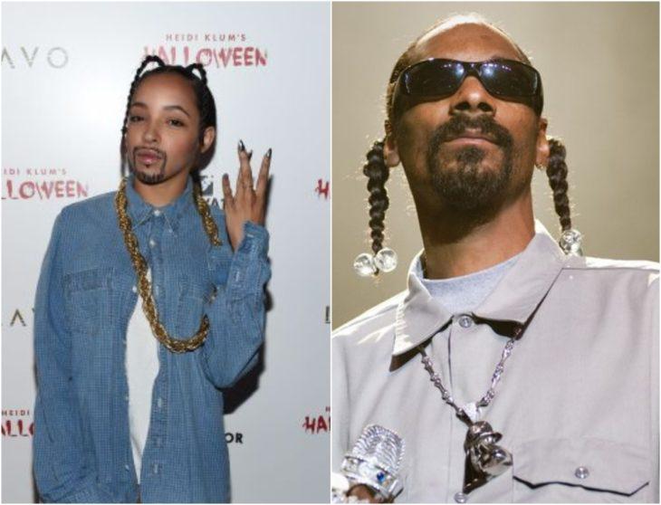 Tinashe disfrazada como Snoop Dogg con coletas trenzadas, barba de candado, gafas oscuras
