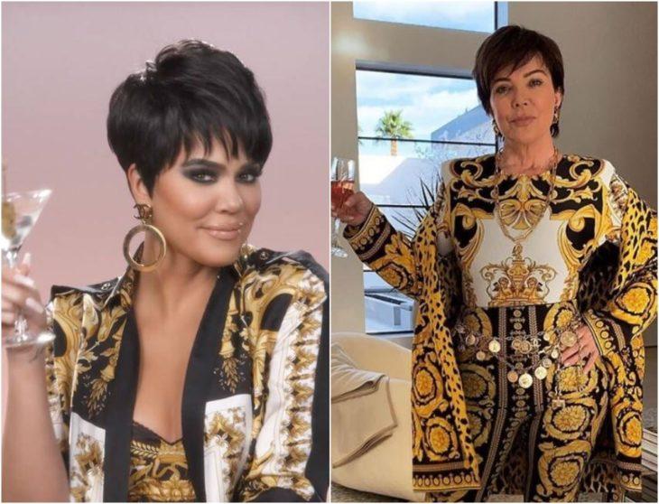 Khloé Kardashian disfrazada como Kris Jenner con traje sastre decorado en tonos negro y dorados sosteniendo una copa de vino tinto
