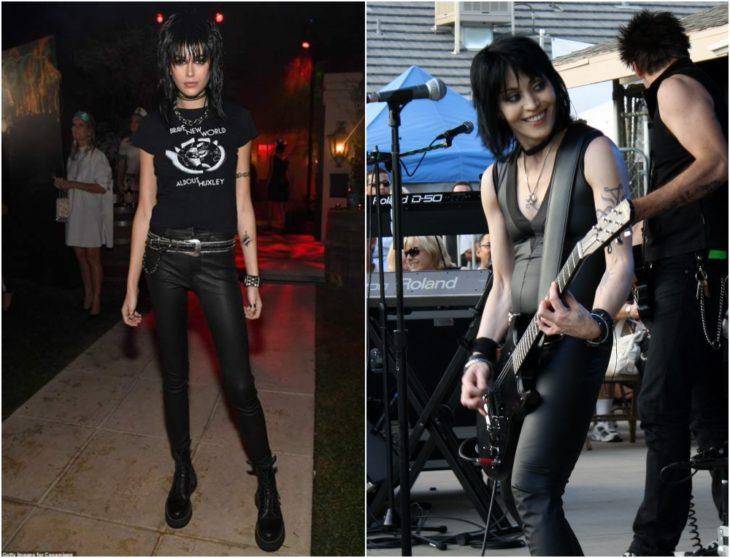 Kaia Gerber disfrazada como Joan Jett con cabello negro estilo midi, pantalones de cuero y camisas negras