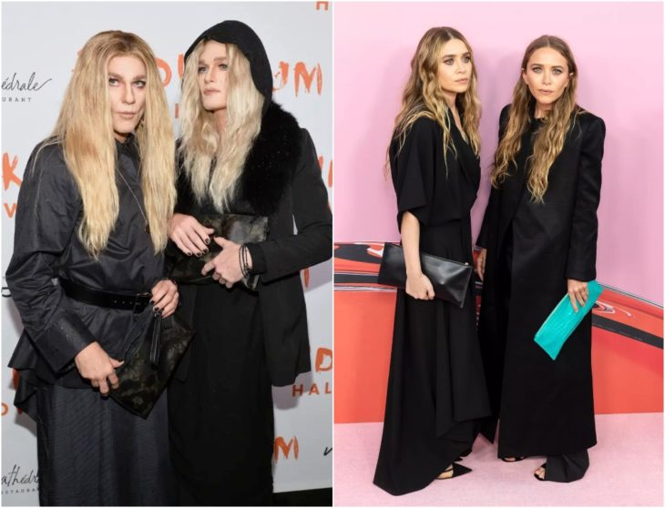 Neil Patrick Harris y David Burtka disfrazados como Mary-Kate y Ashley Olsen con vestidos negros hasta el tobillo