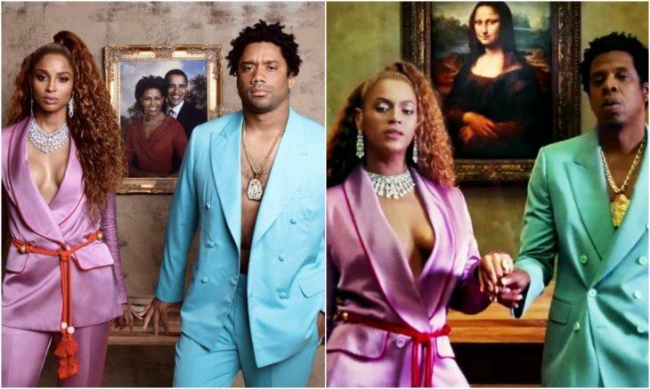 Ciara y Russell disfrazados como Beyoncé y Jay-Z con trajes sastres en colores rosas y azules