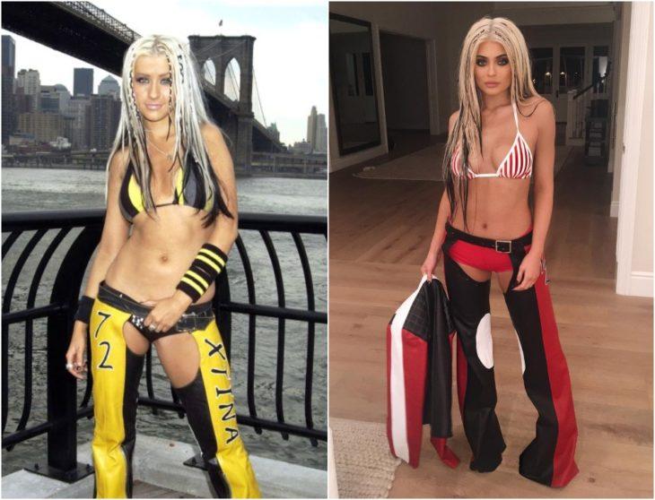 Kylie Jenner disfrazada como Christina Aguilera en el video Dirrty con tops de colores y pantalones rotos