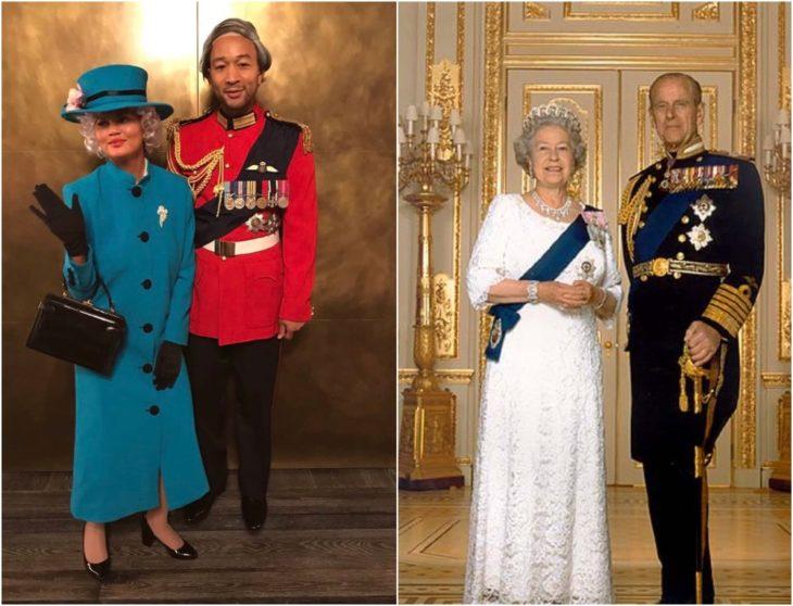 Chrissy Teigen y John Legend disfrazados como la reina Isabel II y el príncipe Felipe con vestido azul y traje sastre en color rojo con negro