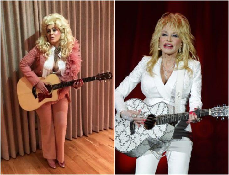 Adele disfrazada como Dolly Parton con traje sastre en color rosa palo, cabello rubio largo y guitarra de madera