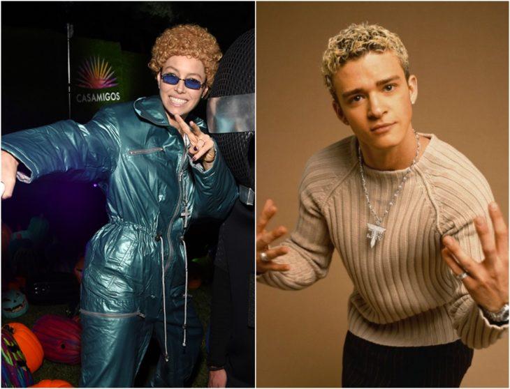 Jessica Biel disfrazada como Justin Timberlake con traje tipo astronauta verde, lentes azules y cabello rubio rizado