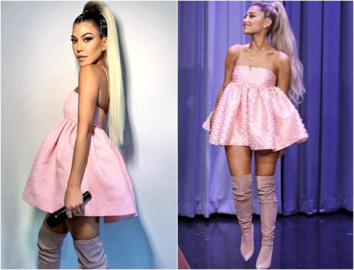 Kourtney Kardashian disfrazada como Ariana Grande con coleta alta en tono rubio y vestido ampón rosa pastel con botas de terciopelo lila