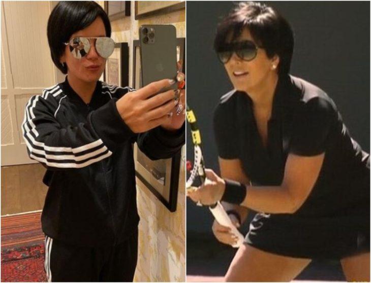 Lily Allen disfrazada como Kris Jenner con ropa deportiva negra, gafas oscuras, cabello corto, tomando una selfie