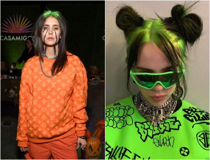 Nina Dobrev disfrazada como Billie Eilish con cabello teñido en verde y negro y ropa deportiva naranja