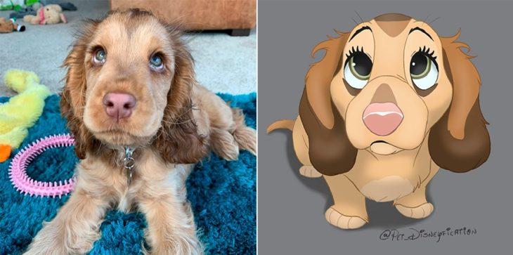 Dibujo 'Disneyficado' de una perrica cocker de ojos azules