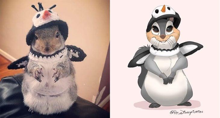 Dibujo 'Disneyficado' de una ardilla vestida de pingüino