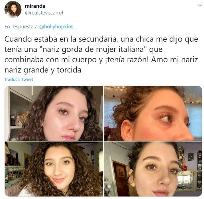 Captura de tweet en la que chica se muestra amor hacía su tipo de nariz