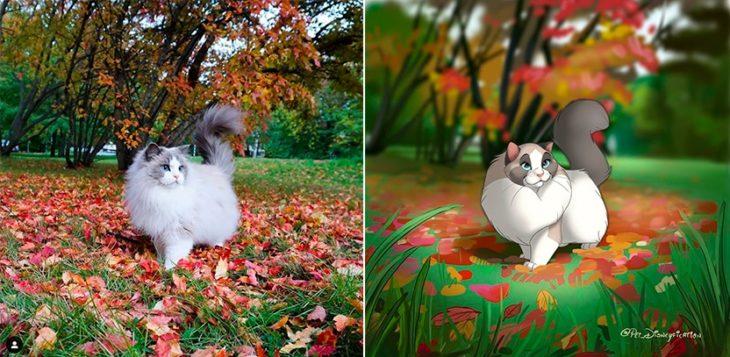 Dibujo 'Disneyficado' de una gatita me dio de una campo de hojas de otoño