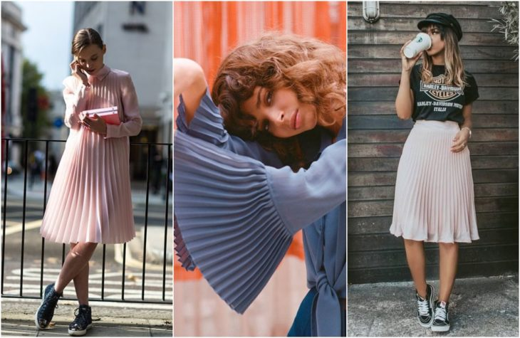 Girls showing latest fashion trend with pleated dresses, blouses and falas in pastel pink, blue and rose gold