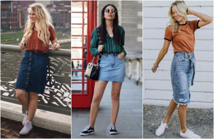 Girls showing latest fashion trend with light and dark denim skirts in short and long versions