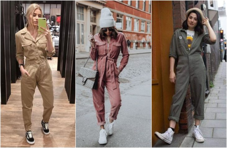 Girls showing latest fashion trend in pink, beige and green props jumpsuit with white low top sneakers