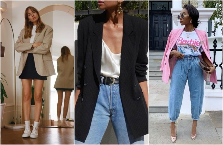 Girls showing latest fashion trend in loose beige, fuchsia and beige blazers