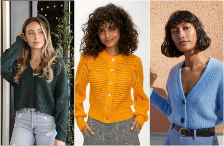 Girls showing the latest fashion trend with light, knitted sweaters in green, mustard and sky blue