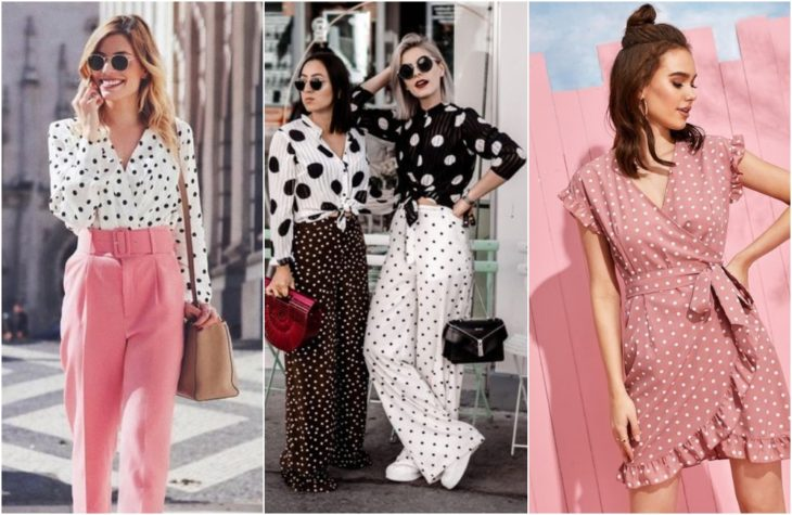 Girls showing the latest fashion trend with garments decorated with polka dots in black and white to make contrast