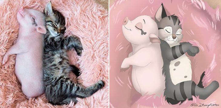 Dibujo 'Disneyficado' de un puerquito y un gatito durmiendo