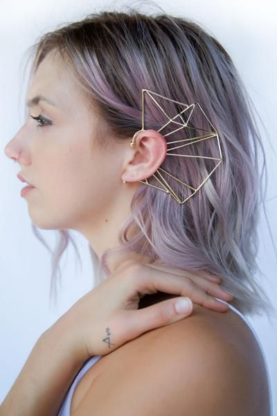 Lavender hair girl with big geometric brooch