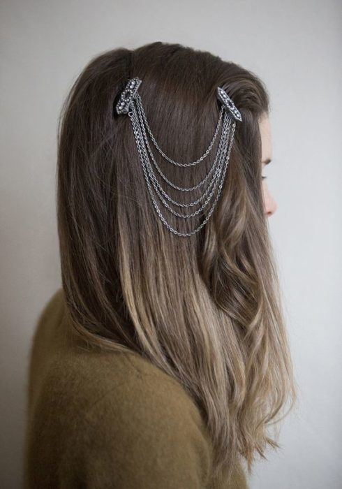 Long loose hair girl with decorative chain